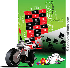 Casino elements with sport motorcy