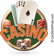 casino, emblema, pocker