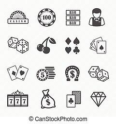 casino, en, geluksspelletjes, iconen
