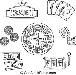 casino, en, geluksspelletjes, sketched, symbolen