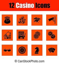 casino, ensemble, icône