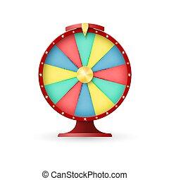 Casino equipment, wheel of fortune. Jackpot lacky winner. Vector illustration on white background