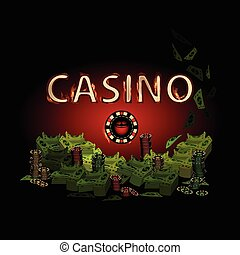 Casino fire letters on a dark background chip