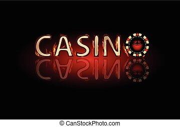 Casino fire text. chip on a dark background