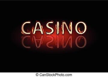 Casino fire text on a dark background