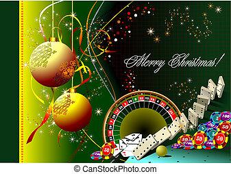 casino, fond, nouveau, -, elements., noël, vecteur, année