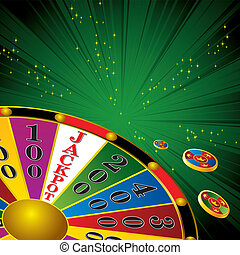Fortune wheel - casino Fortune wheel with chips strip green...