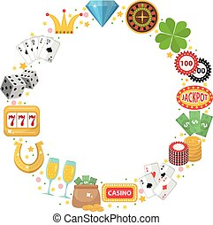 Casino frame with space for text. Gambling isolated on a white background. Poker, card games, one-armed bandit, roulette. Vector illustration, clip art.