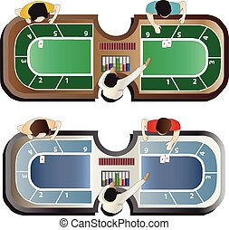 Casino furniture ,Baccarat table top view set 4 for...
