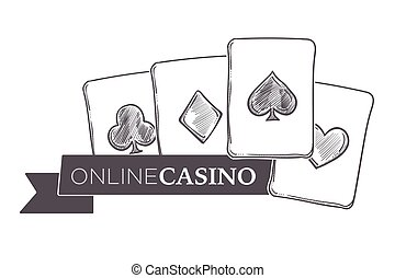 Casino gambling activity, monochrome sketch outline poster with coins vector.