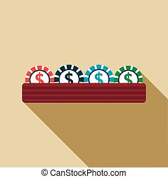 Casino gambling chips icon, flat style