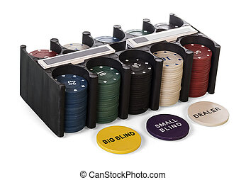 Casino gambling chips in black plastic container isolated on white.
