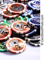 Casino gambling chips on white background