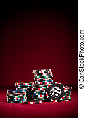 Casino gambling chips with copy space.