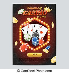 Casino Gambling Game Poster Card Template. Vector
