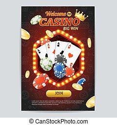 Casino Gambling Game Poster Card Template. Vector
