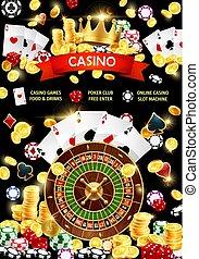 Casino gambling game, slot machine and poker cards