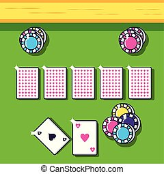 casino game poker cards with pile chips