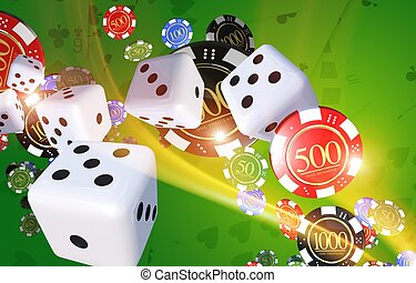 Casino Games Illustration Concept with Dices, Casino Chips...