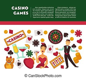 Casino games promotional Internet banner with sample text....
