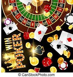 casino, geluksspelletjes, en, pook, roulette wiel