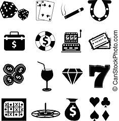 casino, geluksspelletjes, iconen, set