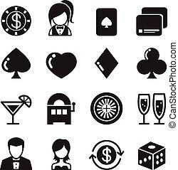 casino, &, geluksspelletjes, iconen, set