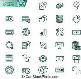 casino, geluksspelletjes, pook, spel, vector, iconen, set
