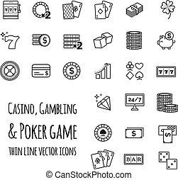 casino, geluksspelletjes, pook, spel, vector, set, iconen