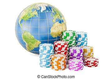 casino, globe., divertissement, concept, global, rendre, la terre, jeu ecaille, 3d