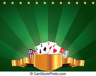 Casino green luxury horizontal background with golden label