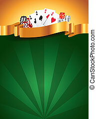 Casino green luxury vertical background with golden ribbon