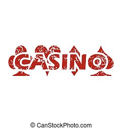 casino, grunge, rood, pictogram