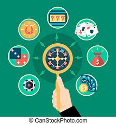Casino Hand Roulette Icons Flat Round Composition