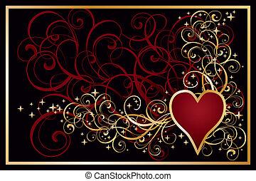 Casino hearts golden card, vector