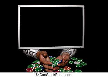 casino, holdem, en línea, tejas, 3d