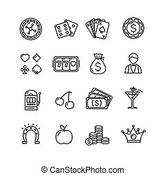 Casino Icon Black Outline Set. Vector
