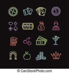 Casino Icon Color Set. Vector