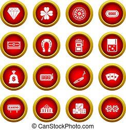 Casino icon red circle set