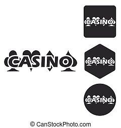 Casino icon set, monochrome