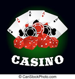 Casino icon with dice, chips and poker aces - Casino icons...