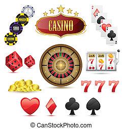 Casino Icons - illustration of set of casino icons on...