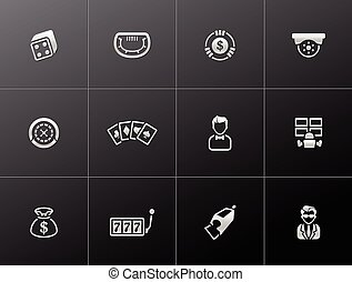 Casino icons in metallic style.