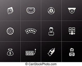 Casino icons in metallic style.
