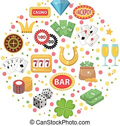 Casino icons in round shape flat style. Gambling set isolated on a white background. Poker, card games, one-armed bandit, roulette collection of design elements. Vector illustration, clip art.