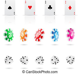 playing cards, roulette chips and dices icons, vector illustration