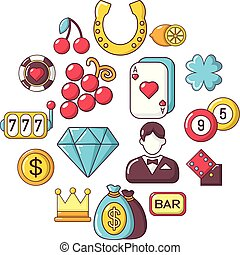 Casino icons set, cartoon style