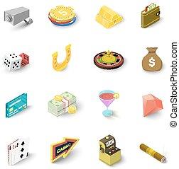 Casino icons set, isometric style