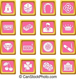 Casino icons set pink square vector