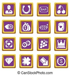 Casino icons set purple square